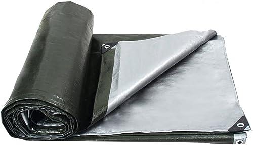 AJZXHE Bache imperméable à l'eau, Couverture de poussière de voituregaison de Camion Multi-usages résistant à l'usure, résistant à Hautes températures et Anti-vieillisseHommest, Vert + Argent -Tente
