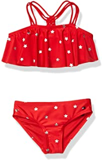 Tommy Hilfiger Girls Two-Piece Swimsuit, Foil Star Flounce Chinese Red, 5