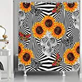 NYMB Creative Skull Art Shower Curtain in Bath, Boho Tribal Sugar Skull with Butterflies and Sunflowers in Psychedelic Trippy Black and White Stripes Fabric Bathroom Curtains Hooks Included, 69X70in