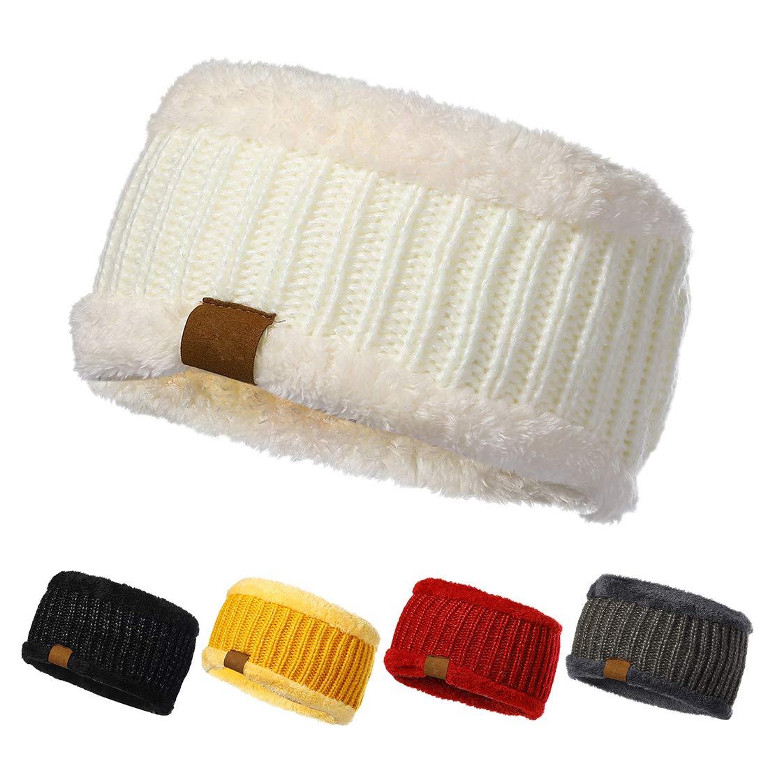 Womens Cable Knit Headband, Winter Fleece Lined Headwrap,Soft Stretch Ear Warmer (9009-04)