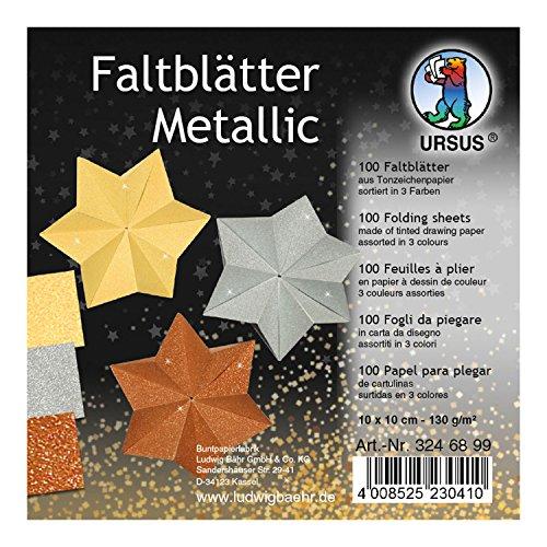 Faltblätter Metallic, 100 Blatt Tonzeichenpapier 130 g/qm, 10 x 10 cm