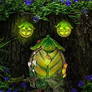 miniature fairy gnome home window and door with lamp for trees decoration glow in dark fairies sleeping door and windows yard art garden noctilucence sculpture lawn ornament decor