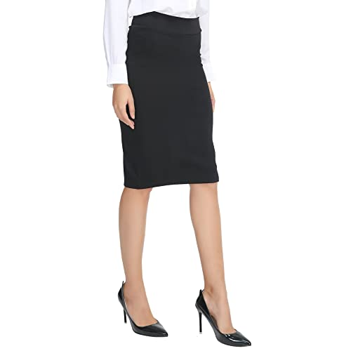 a546e9b8c39958 Urban CoCo Women's Elastic Waist Stretch Bodycon Midi Pencil Skirt