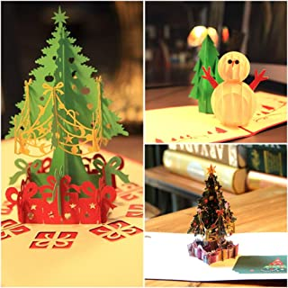 Loyocgo Pop Up Christmas Greeting Card 3-Pack Happy New Year Merry Christmas Card for Women Man Kids With Envelope(Merry Xmas, Pack of 3)