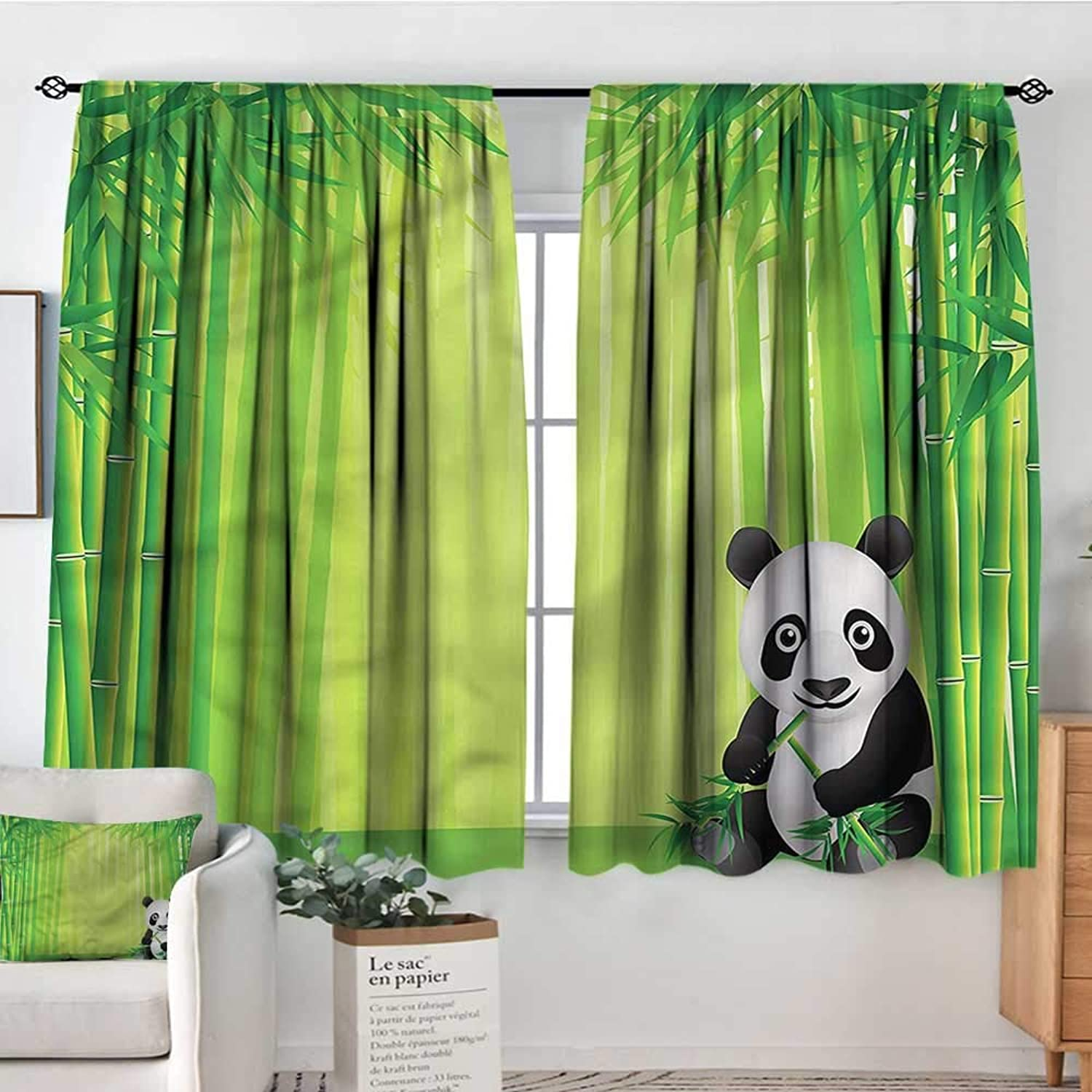 Anzhutwelve Panda,Indo Panes Drapes Bamboo Forest in Summertime 42 X45  Kids Backout Curtains for Bedroom
