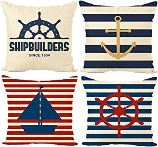 MIULEE Pack of 4 Decorative Nautical Sailing Pillow Cushion Cover Set Cotton Linen for Sofa Bedroom Car 18 x 18 Inch 45 x 45 cm Anchor Ship Rudder