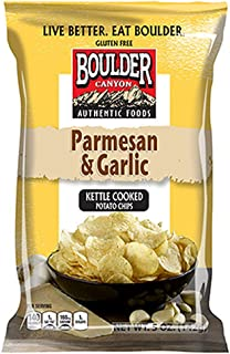Boulder Canyon Kettle Cooked Potato Chips, Parmesan & Garlic, 5 Ounce (Pack of 12)