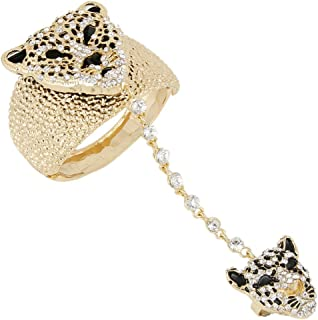 Austrian Crystal Gorgeous Leopard Head Bracelet Adjustable Ring Set Clear