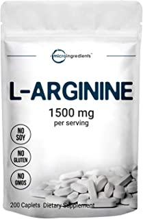 Micro Ingredients L Arginine Supplement, Arginine Caplet, 1500mg Per Serving, 200 Counts, Nitric Oxide Supplement for Musc...