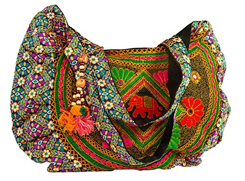 Floral Handbag Tote Colorful Handmade Embroidered Women Large Travel School Work Laptop Shoulder Bag (Red)