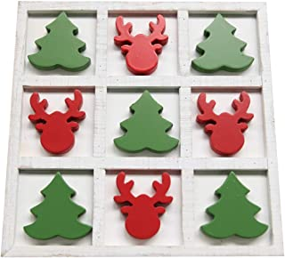 NIKKY HOME Wooden Christmas Tree and Deer Tic Tac Toe Board Travel Game for Holiday Fun