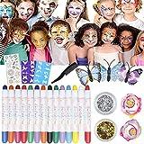 Pinturas Cara para Niños 14 Colores Pintura Facial, Seguridad no tóxica Face Paint con 10 Tintes para Cabello, 2 Purpurinas, Plantillas, Tocado de Mariposa y Otro para Navidad y Halloween