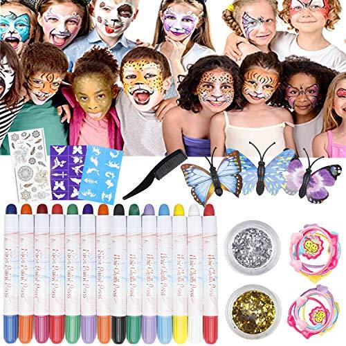 Haarkreide und Schminkstifte Set, Hair Chalk 14 Farben Auswaschbar Haarkreide 3 Schablonen 2 Glitzer und Schmetterlingshaarnadeln Ideal für Kinder, Geschenke Geburtstag Karneval & Weihnachten