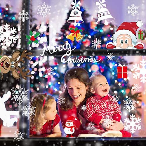 Telgoner Fensterbilder Weihnachten Selbstklebend, Fensterbild Weihnachten Wiederverwendbar, 160 Statisch Haftende Schneeflocken Winterdeko, Weihnachtsdeko Fensterbilder für Tür Schaufenster Vitrinen