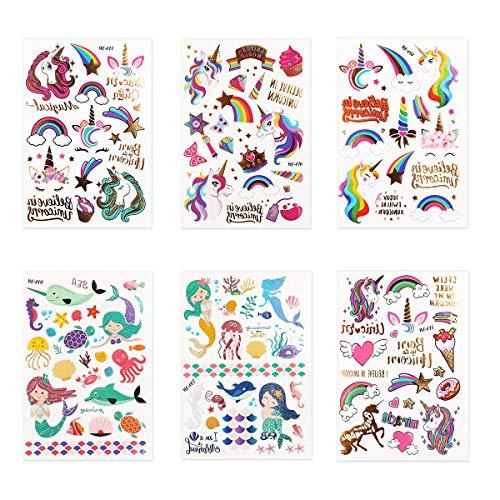 Colmanda Tattoo Kinder, 6 Blatt Tattoos Gastgeschenke Glitzer Temporäre Tattoos Cartoon Tattoos Set für Kinder, Tiereinhorn Tattoos Set, Kindertattoos für Kindergeburtstag Mitgebsel Party