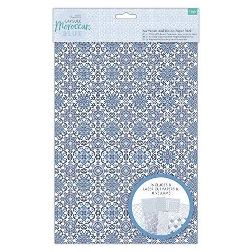 Papermania Capsule, Carta, Moroccan Blue, A4 Vellum And Laser Cut Paper Pack (Pack of 16)