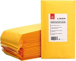 Lekzai 6 x 10 Inches Padded Envelopes Kraft Bubble Mailers, Pack of 25