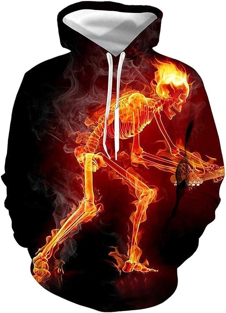 Hoodies for Men With Designs,Forthery Unisex 3D Print Halloween Long Sleeve Novelty Hoodie Pullover Fleece Sweatshirt