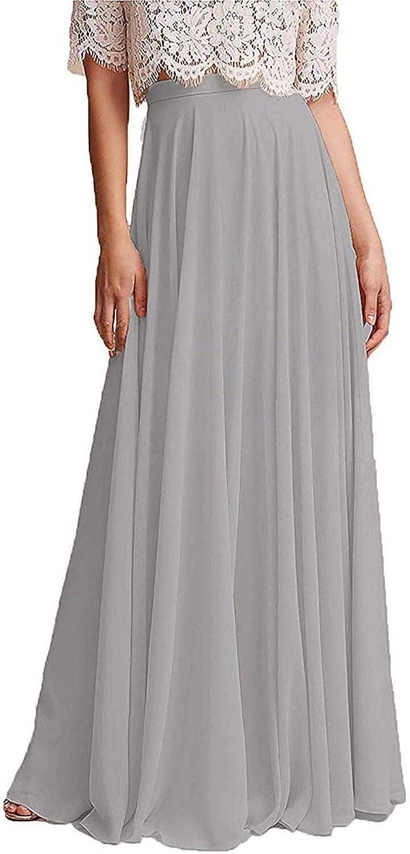 EllieHouse Floor Length High Waist Chiffon Prom Party Bridesmaid Skirt P53