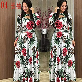 Elegant autumn Women's Dress 2020 Casual Bohemia Flower Print Maxi Dresses Fashion Hollow Out Tunic Dress Plus Size 5XL brand:TONWIN (Color : D long, Size : 5XL)