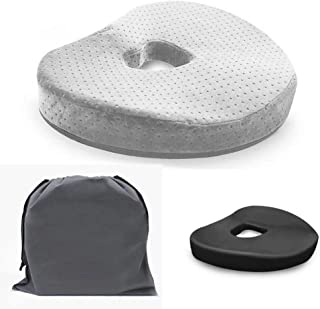 Health Day MYuan Ergonomic Seat Cushion Bamboo Charcoal Memory Foam Tailbone, Lower Back, Coccyx, Sciatica Pain Relief, Especially Pregnant Woman, Heart Hollow Design Fit for Chair, Car (Gray)
