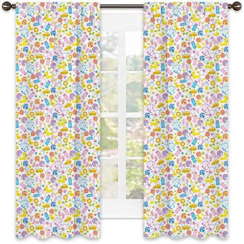 Cortina opaca para bebé, una variedad de artículos para bebés, juguetes, huellas de leche, diseño de arreglo de flores, para sala de estar o dormitorio, 52 x 72 pulgadas, multicolor