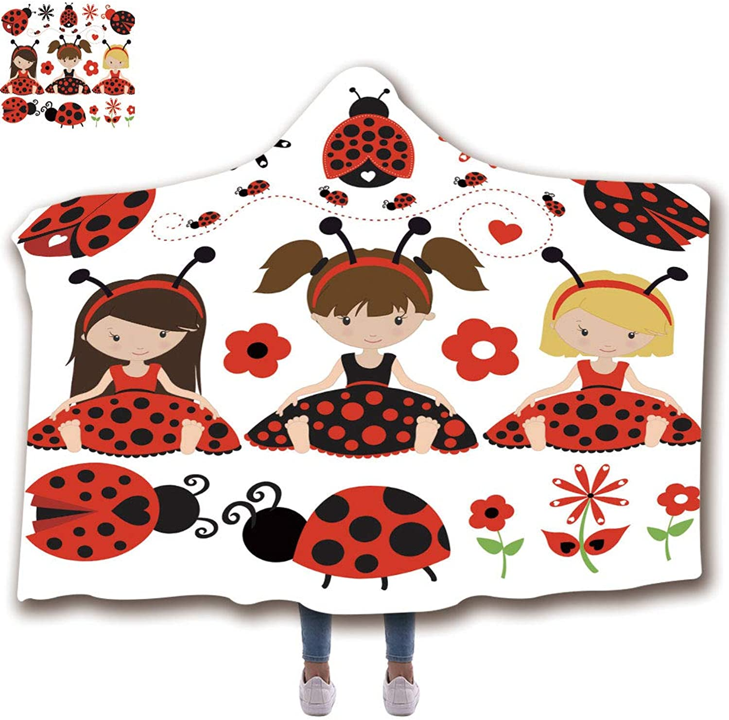 Hooded Blanket for Adults (59  H x 79  W) Wearable Portable Warm Thicken Soft Plush 3D Printed Pattern Throw Hooded Blanket, Cute Ladybug Girls