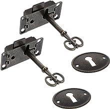 DOITOOL 2 Stuks Vintage Doos Lock Retro Kabinet Kast Lock Meubels Lock Met Sleutels Decoratieve Klink Hasp Lock Voor Borst...