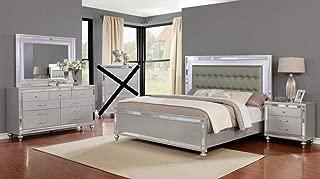 GTU Furniture Wooden Grey/Silver 4Pc Queen Bedroom Set(Q/D/M/N)