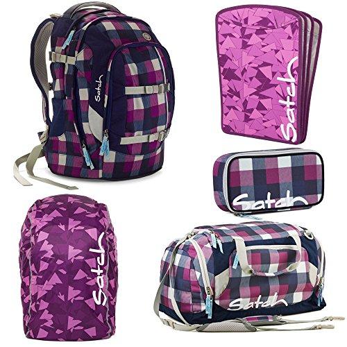 satch by Ergobag Berry Carry 5-teiliges Set Rucksack, Sporttasche, Schlamperbox, Regenhaube Lila & Heftebox Lila