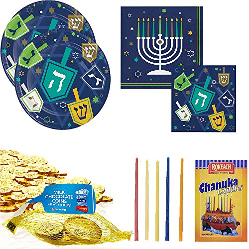 Hanukkah Party Kit for 16 – Sixteen Chanukah Dessert plates, Sixteen luncheon and Sixteen beverage napkins with milk chocolate gelt coins and candles for Menorah Festival of Lights celebrations