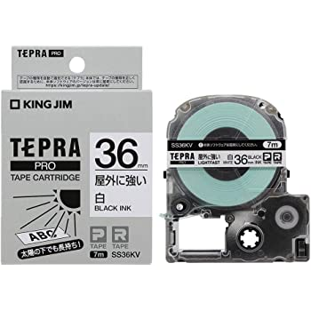 キングジム テプラPROテープカートリッジ 屋外に強いラベル SS36KV 白/黒文字