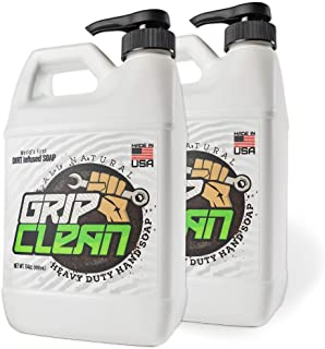 Grip Clean   Heavy Duty Hand Cleaner - Dirt Infused & All Natural Industrial Strength Soap (1/2gal) x2