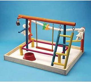 مركز اللعب ونشاط للطيور مع أعمدة للوقوف وسلالم وجرس وحبل ثخين بارتفاع 18.5 انش من بين بلاكس موديل BA148