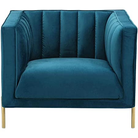 Velours THE HOME DECO FACTORY Fauteuil Karl Bleu 64 x 62,5 x 74 cm