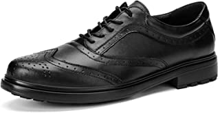DADIJIER Oxfords Zapatos de Vestir para Hombres con Puntas de alas Full Brogues 5-Eye Lace Up Block Tacón de Cuero Genuino...