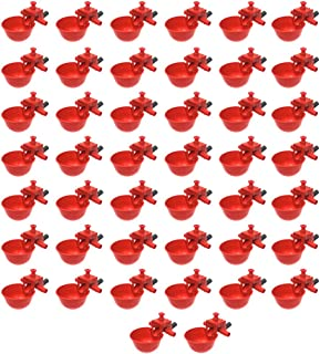kingjinglo Automatic Chicken Waterer Cups 50Pcs/Set Red Bird Chicken Fowl Drinker Bowl Feed Automatic Adjustable Poultry Water Drinking Cups