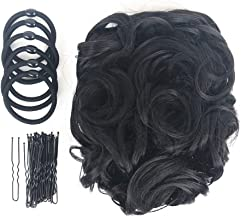 ZZRRYY Premium Messy Curly Dish Hair Bun Extension, Stretch hair Combs Clip in Ponytail, Upgraded Scrunchies Chignon Tray Ponytail Hairpieces (36 Bobby Pins, 6 Bands &1 Hair Bun, Black Brown - #2)