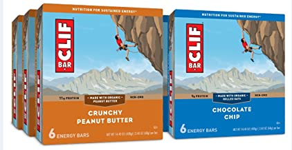 CLIF ENERGY BAR - Value Pack - Chocolate Chip and Crunchy Peanut Butter - (2.4 Ounce, 6 Count, 6 Pack)