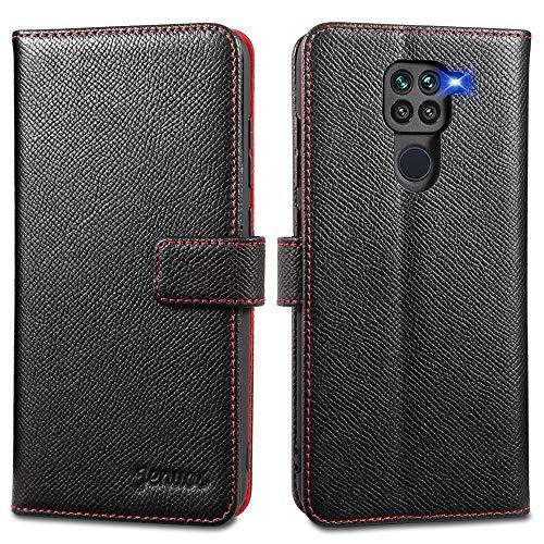 Jenuos Cover Xiaomi Redmi Note 9, Vera Pelle Flip Libro Custodia a Portafoglio Folio Telefono con Magnetica Chiusa per Xiaomi Redmi Note 9 - Nero (MN9-EG-BK)