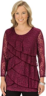 Lace All Over Tiered Ruffle Trim Top - Elegant Front Layered Waterfall Design