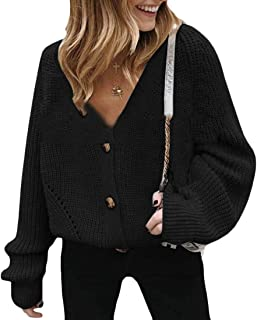 Womens V Neck Button Down Long Sleeve Cable Knit Cardigan Sweater