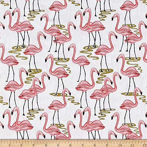 Michael Miller Glitter Critters Flamingo Bay , White Fabric by the Yard