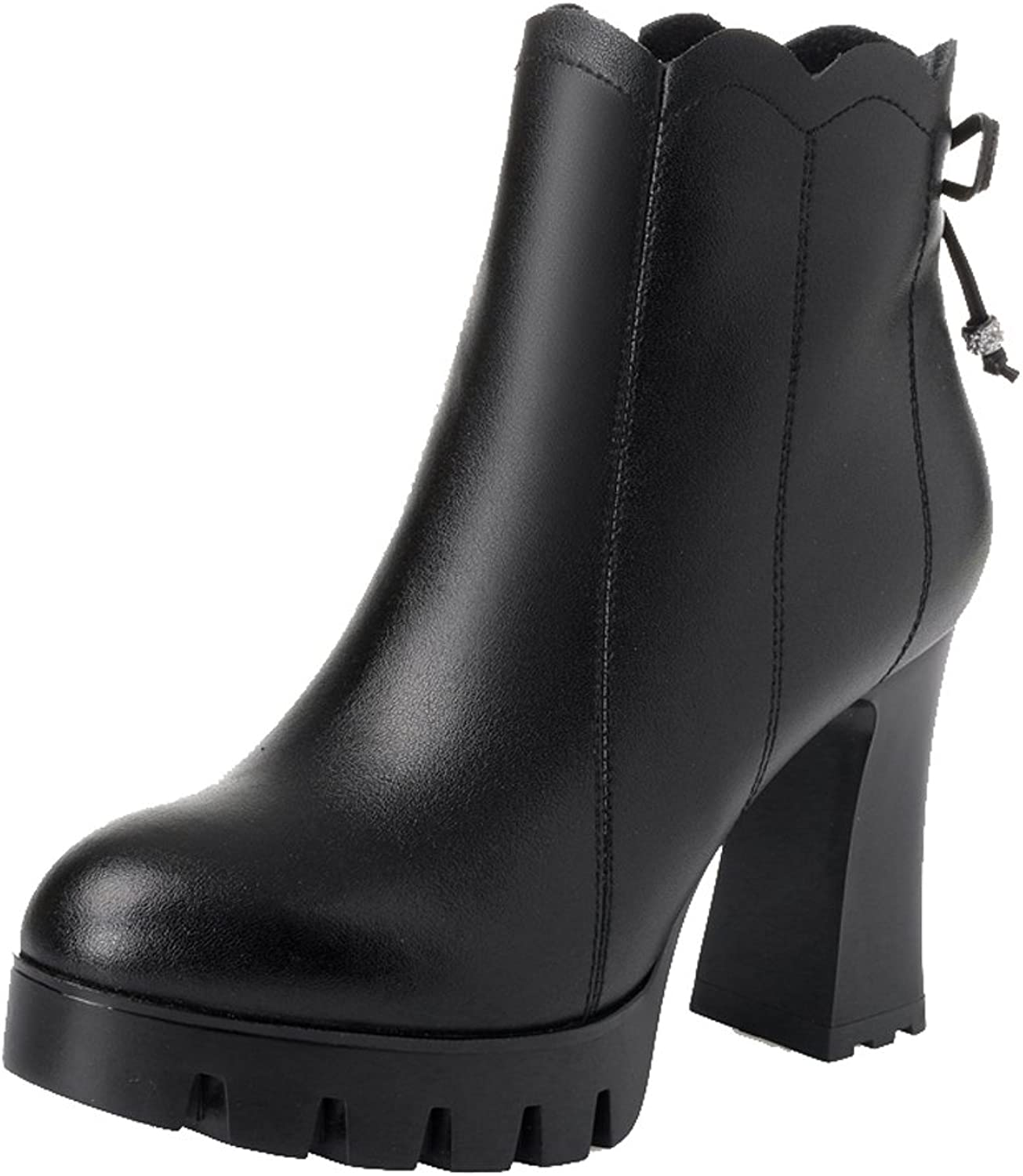 Dethan Women's Genuine Leather Round Toe Chunky High Heel Ankle Boots Bootie