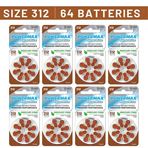 Powermax Size 312 Hearing Aid Batteries, Brown Tab, 64 Count