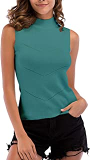 SOMTHRON Women's Slim Fit Ribbed Turtleneck Bodysuit Tee Shirts Striped Sleeveless Mock Neck Cotton Cami Tank Tops