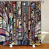 XCBN Cortina de Ducha Moderna con Dibujo de boceto de la Ciudad de Nueva York, partición Sanitaria, Cortina de Ducha separada Seca y húmeda A3 180X200CM