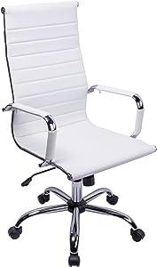 poptoy - Silla de oficina de piel sintética con respaldo alto curvado, altura ajustable, color blanco