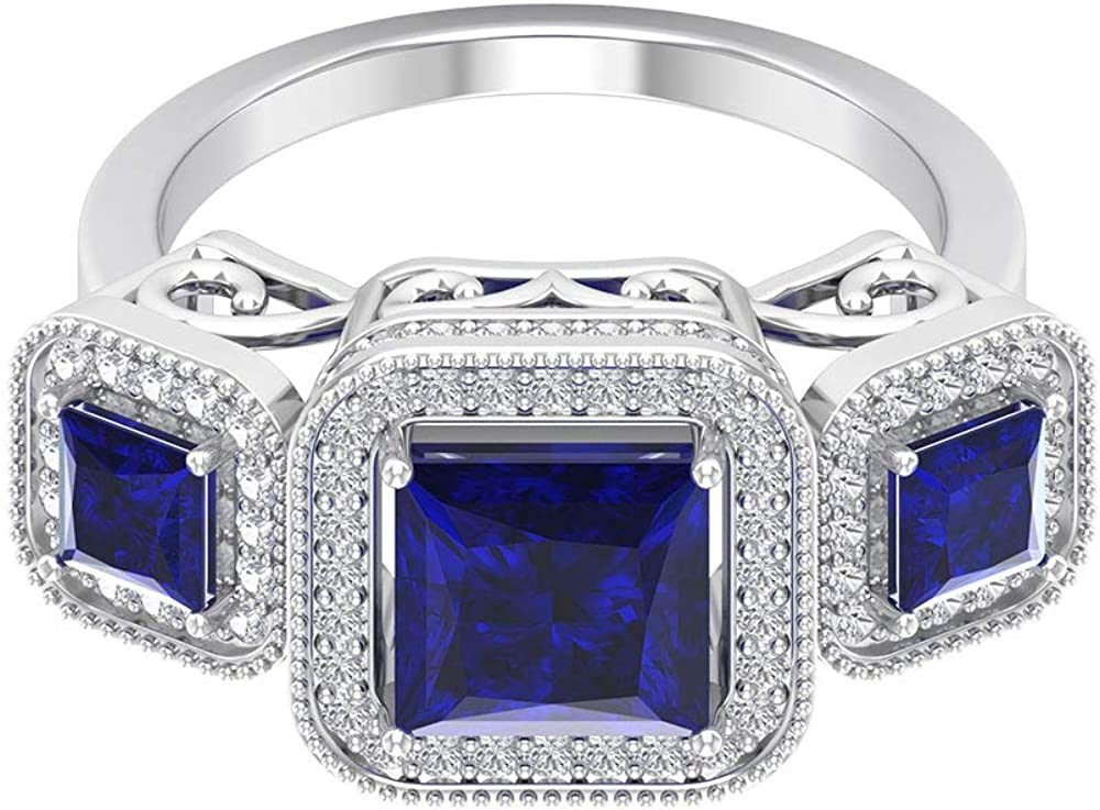 3.50 CT Lab Created Credence Blue Sapphire Thre with Accent Diamond Ring Super sale