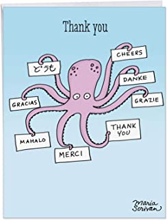 Octopus - Cute Thank You Greeting Card with Envelope (Extra Large 8.5 x 11 Inch) - Adorable Ocean Animal Thanks, Gratitude Notecard for Kids, Adults - Funny Cartoon Thank You Stationery Gift J4013TYG